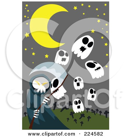 Royalty-Free (RF) Clipart Illustration of a Grim Reaper With Skull Ghosts In A Cemetery by mayawizard101