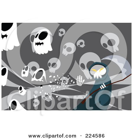 Royalty-Free (RF) Clipart Illustration of a Grim Reaper Over Gray With Skulls by mayawizard101