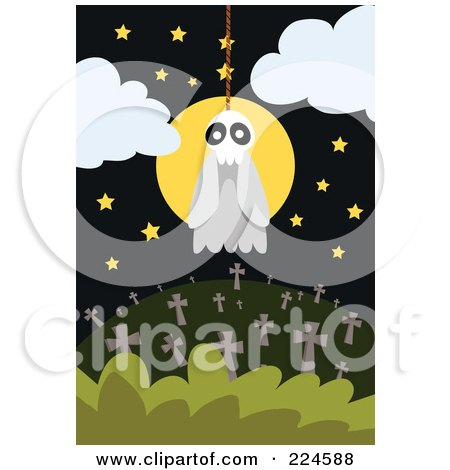 Royalty-Free (RF) Clipart Illustration of a Skull Ghost Hanging From A Noose Over A Cemetery by mayawizard101