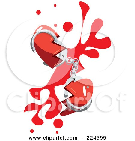 Broken Heart With Hand Cuffs And Blood Posters, Art Prints