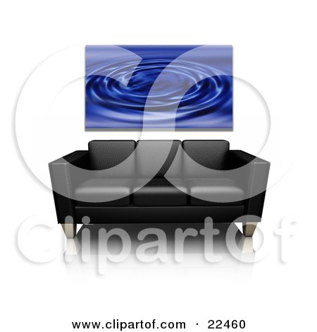 Clipart Illustration of a Blue Water Ripple Art Print Hanging On A Wall Above A Black Leather Couch On A Reflective White Surface by KJ Pargeter