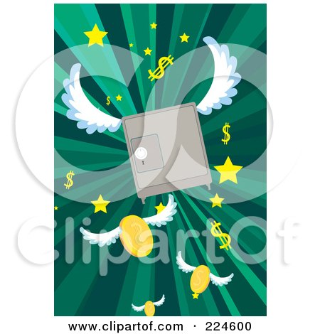 Royalty-Free (RF) Clipart Illustration of a Winged Safe Over Green Rays And Fling Coins, Stars And Dollar Symbols by mayawizard101