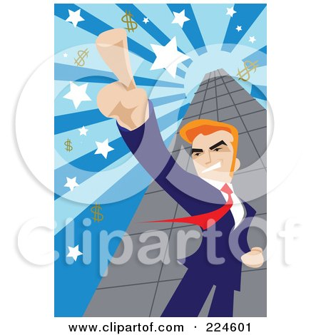 Royalty-Free (RF) Clipart Illustration of a Businessman Pointing Up And Standing By A Skyscraper With Dollar Symbols by mayawizard101