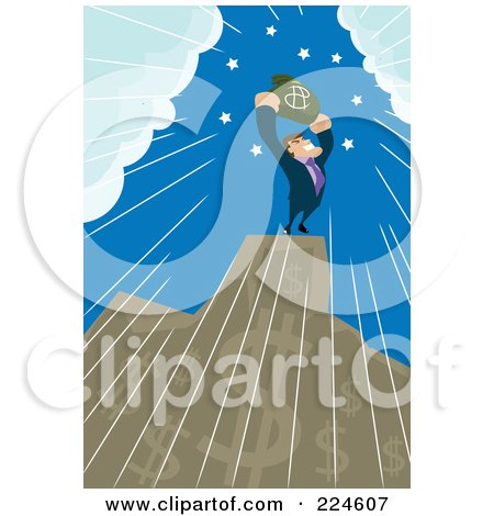 Royalty-Free (RF) Clipart Illustration of a Businessman Holding A Money Bag On Top Of A Dollar Bar Graph by mayawizard101