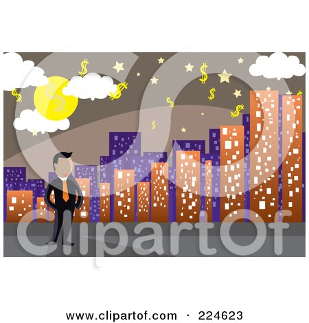 Royalty-Free (RF) Clipart Illustration of a Businessman Standing By A City Skyline Under A Dollar Sky by mayawizard101