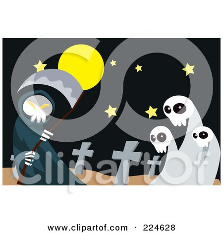 Royalty-Free (RF) Clipart Illustration of a Grim Reaper Holding A Scythe By Ghosts In A Cemetery by mayawizard101