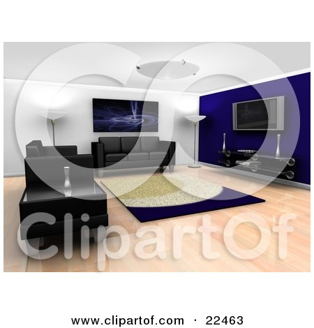 Clipart Illustration of a Modern Living Room Interior With Ceiling And Floor Lamps, A Fractal Art Piece Hanging On The Wall, A Rug, Entertainment Center, Black Leather Couches And A Table by KJ Pargeter