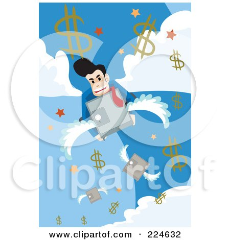 Royalty-Free (RF) Clipart Illustration of a Businessman On A Flying Safe In The Sky With Dollar Symbols by mayawizard101