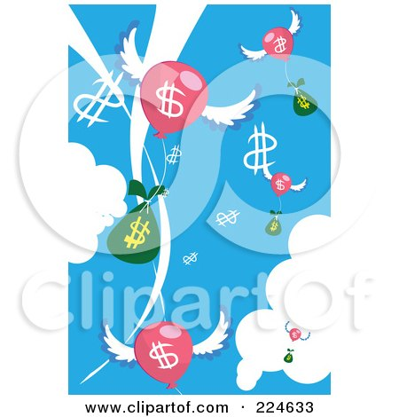 Royalty-Free (RF) Clipart Illustration of Dollar Sybmols, Bags And Balloons In The Sky by mayawizard101