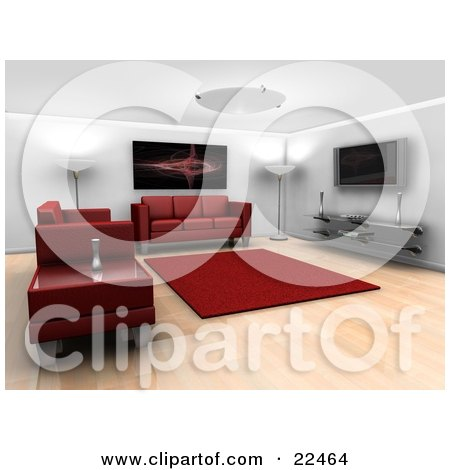 Clipart Illustration of a Modern Living Room Interior With Ceiling And Floor Lamps, A Red Fractal Art Piece Hanging On The Wall, A Red Rug, Entertainment Center, Red Leather Couches And A Table by KJ Pargeter