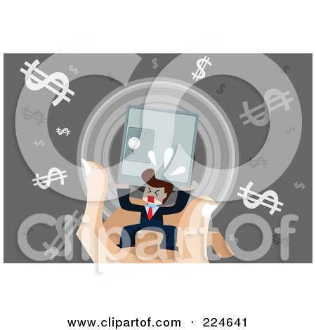 Royalty-Free (RF) Clipart Illustration of a Businessman Carrying A Save On A Hand With Dollar Symbols by mayawizard101