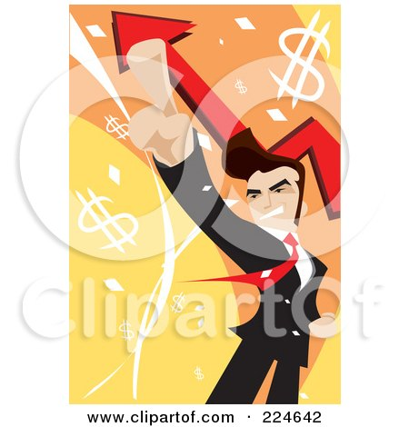 Royalty-Free (RF) Clipart Illustration of a Businessman Pointing Up, Over Arrows And Dollar Symbols by mayawizard101