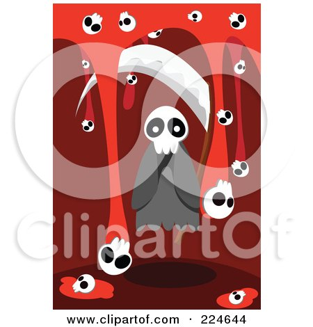 Royalty-Free (RF) Clipart Illustration of a Spooky Ghost With A Scythe And Skulls With Blood by mayawizard101