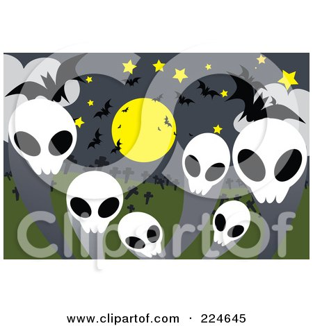 Royalty-Free (RF) Clipart Illustration of Skull Ghosts With Bats And A Full Moon by mayawizard101