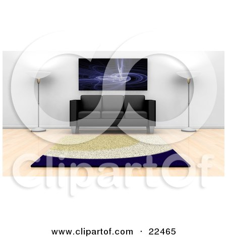 Clipart Illustration of a Fractal Art Print On The Wall Above A Black Leather Couch With Two Floor Lamps And A Rug On A Hard Wood Floor In A Modern Home by KJ Pargeter