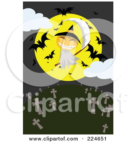 Royalty-Free (RF) Clipart Illustration of a Jackolantern Grim Reaper With A Full Moon And Bats Above A Cemetery by mayawizard101