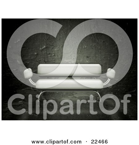 Clipart Illustration of a Modern White Settee Sofa With Chrome Framing, Over A Textured Grunge Background by KJ Pargeter
