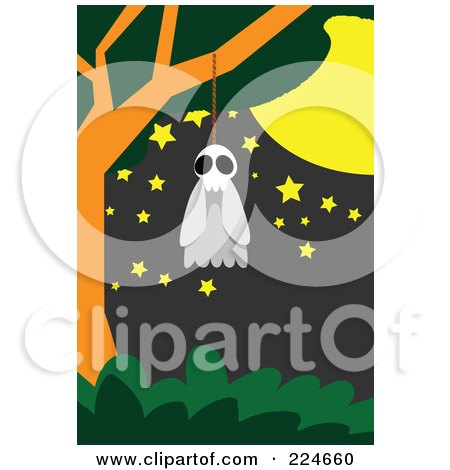 Royalty-Free (RF) Clipart Illustration of a Ghost Hanging From A Noose In A Tree by mayawizard101