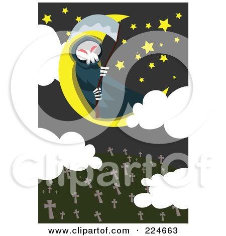 Royalty-Free (RF) Clipart Illustration of a Grim Reaper Sitting On A Moon Above A Cemetery by mayawizard101