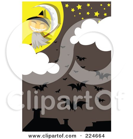 Royalty-Free (RF) Clipart Illustration of a Jackolantern Grim Reaper And Bats Above Houses by mayawizard101