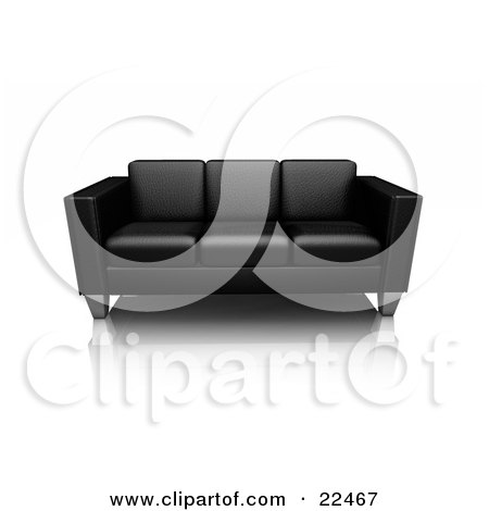 Modern Black Leather Sofa With Chrome Legs, Resting On A Reflective White Surface Posters, Art Prints