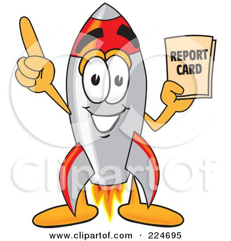 Royalty-Free (RF) Clipart Illustration of a Rocket Mascot Cartoon Character Holding A Report Card by Toons4Biz