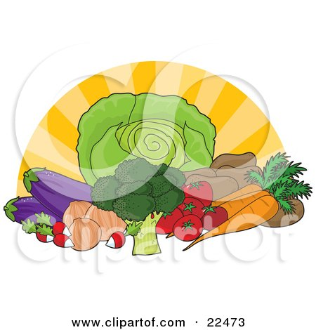 Clipart Illustration of a Food Still Life Of Iceberg Lettuce, Broccoli, Radishes, Onions, Eggplants, Tomatoes, Potatoes And Carrots With A Surnburst Background by Maria Bell