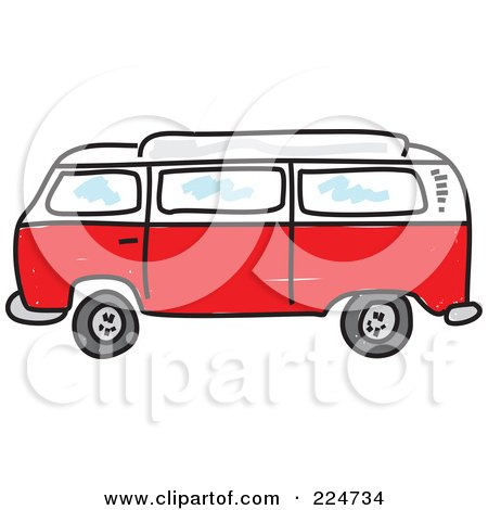 Royalty Free RF Clipart Illustration Of A Red Camper Van By