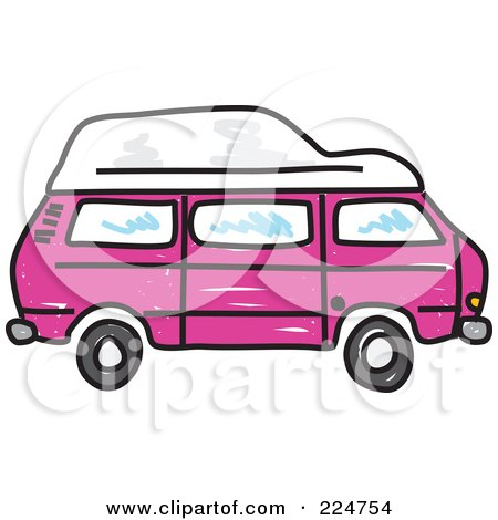 Royalty Free RF Clipart Illustration Of A Pink Camper Van By