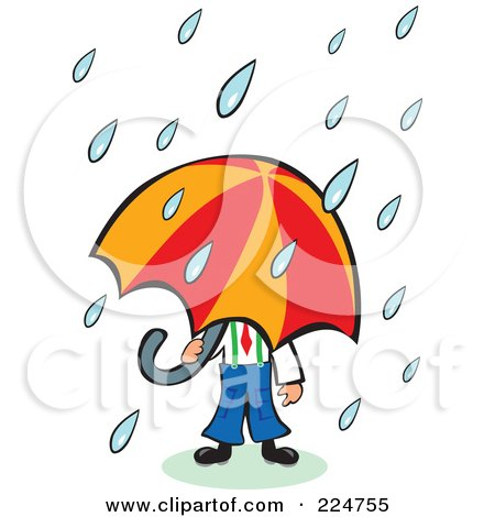 Royalty-Free (RF) Clipart Illustration of Rain Pouring Down On A Businessman Under An Umbrella by Prawny