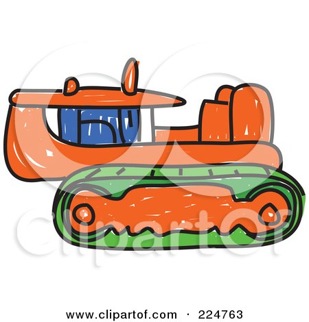 Royalty-Free (RF) Clipart Illustration of a Sketched Orange Caterpillar Bulldozer by Prawny