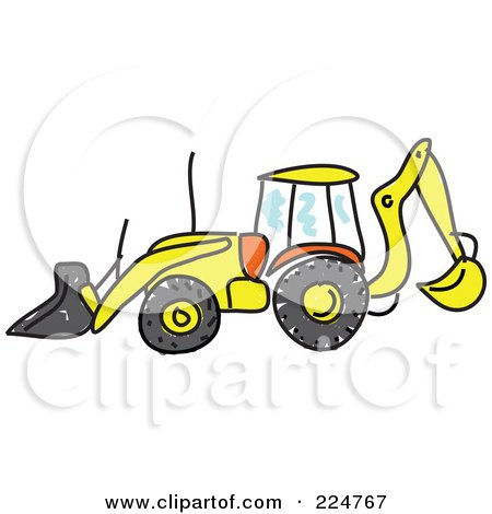 Royalty-Free (RF) Clipart Illustration of a Sketched Bulldozer In Profile by Prawny