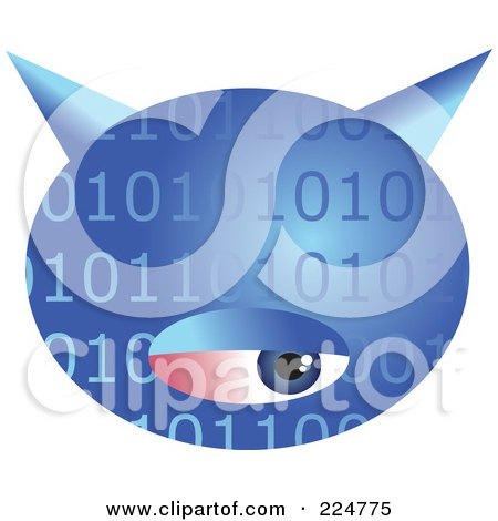 Royalty-Free (RF) Clipart Illustration of a Blue Binary Computer Virus With An Eye by Prawny