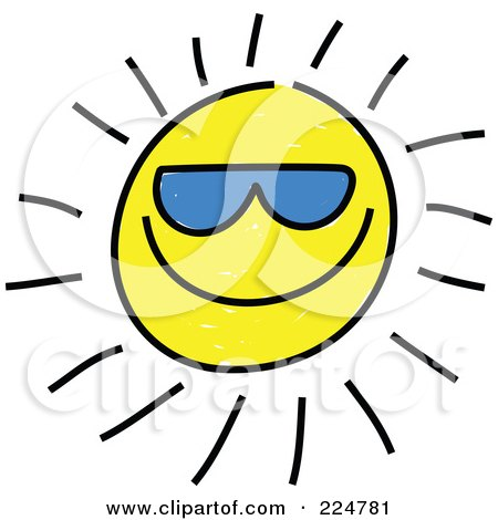 Royalty-Free (RF) Clipart Illustration of a Cool Sketched Sun Wearing Blue Shades by Prawny