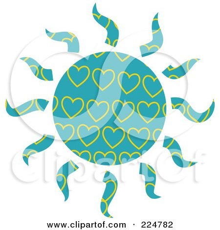 Royalty-Free (RF) Clipart Illustration of a Turquoise And Yellow Heart Patterned Sun by Prawny
