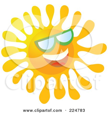 Royalty-Free (RF) Clipart Illustration of a Happy Gradient Sun Wearing Green Shades by Prawny