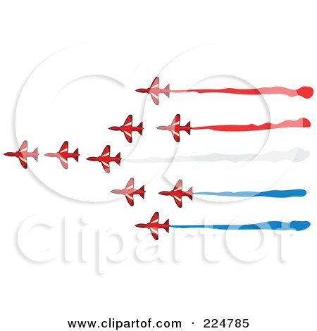 Royalty-Free (RF) Clipart Illustration of a Team of Flying Jets by Prawny