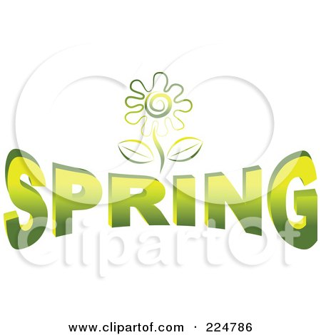 Royalty-Free (RF) Clipart Illustration of a Green Flower Over SPRING by Prawny