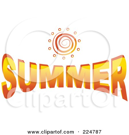 Royalty-Free (RF) Clipart Illustration of a Spiral Sun Over The Word Summer by Prawny