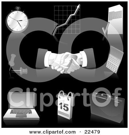 Clipart Illustration of a Collection Of Gray And Silver Pocketwatch, Graph, Letter, Push Pins, Handshakes, Calculator, Laptop Computer, Calendar And Briefcase Icons, Over Black by Tonis Pan