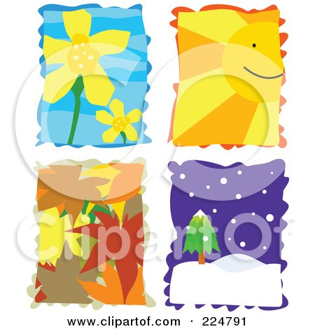 Royalty-Free (RF) Clipart Illustration of a Digital Collage Of Yellow Flowers, A Sun Face, Autumn Leaves And Winter Landscape by Prawny