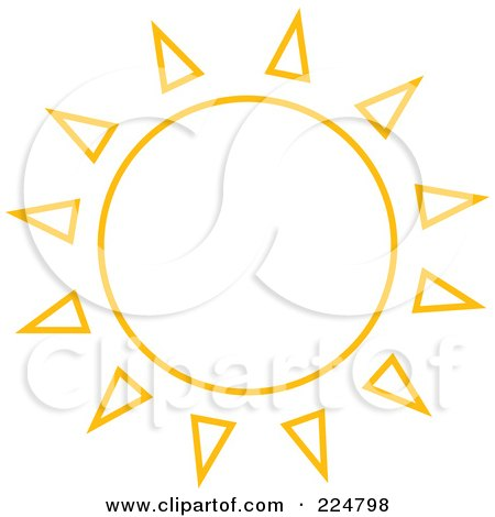 Royalty-Free (RF) Clipart Illustration of an Orange Sun With Spiked Ray Outlines by Prawny
