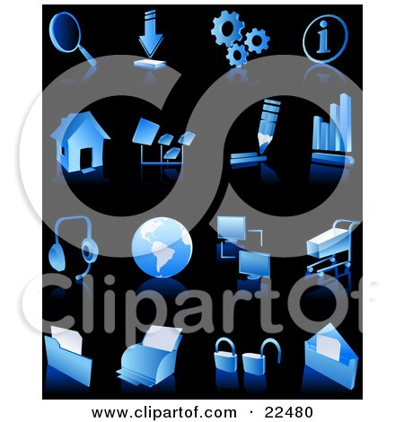 Clipart Illustration of a Collection Of Blue And White Search, Download, Information, Home Page, Music, Connectivity, Shopping, Printing, Security And Email Web And Computer Icons Over Black by Tonis Pan