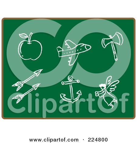 Royalty-Free (RF) Clipart Illustration of an Apple, Airplane, Axe, Arrows, Anchor And Angel Sketched In Chalk On A Chalkboard by Qiun