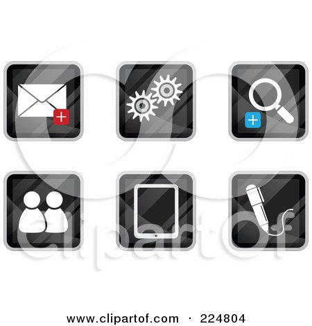 Royalty-Free (RF) Clipart Illustration of a Digital Collage Of Black Square Email, Gear, Zoom, Chat, Tablet And Pen App Icons by Qiun