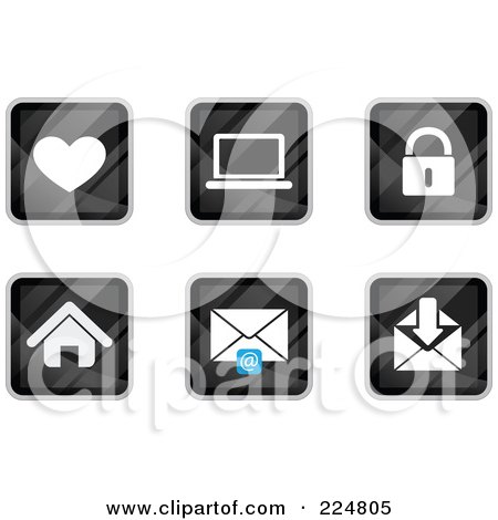 Royalty-Free (RF) Clipart Illustration of a Digital Collage Of Black Square Heart, Laptop, Padlock, House And Email App Icons by Qiun