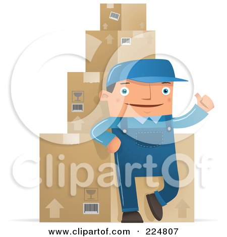 Royalty-Free (RF) Clipart Illustration of a Shipping Warehouse Man Leaning Against Packaged Boxes by Qiun