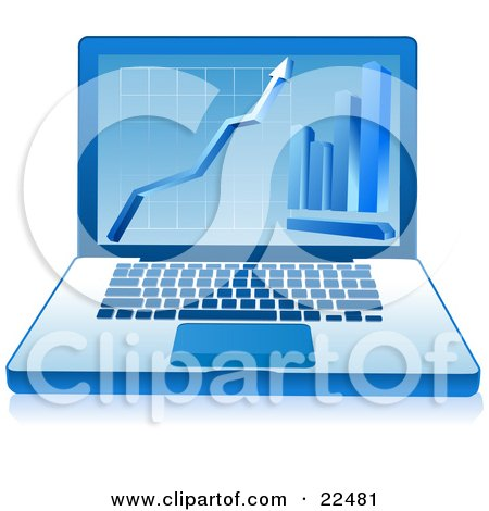Clipart Illustration of a Blue Laptop With A Financial Grid, Arrow And Bar Graph Displayed On The Screen by Tonis Pan