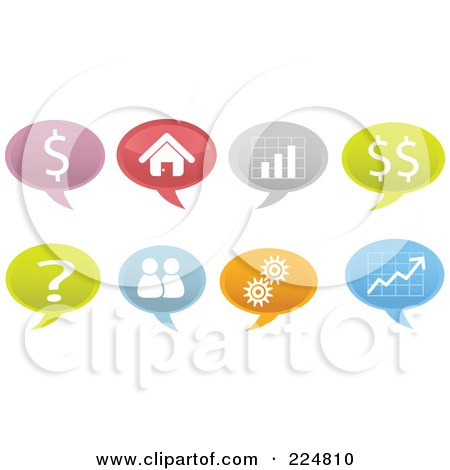 Royalty-Free (RF) Clipart Illustration of a Digital Collage Of Business Speech Balloons by Qiun