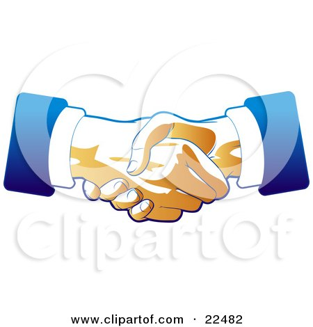 Two Hands Of Businessmen Engaged In A Deal Binding Handshake, In Blue And Tan Tones Posters, Art Prints